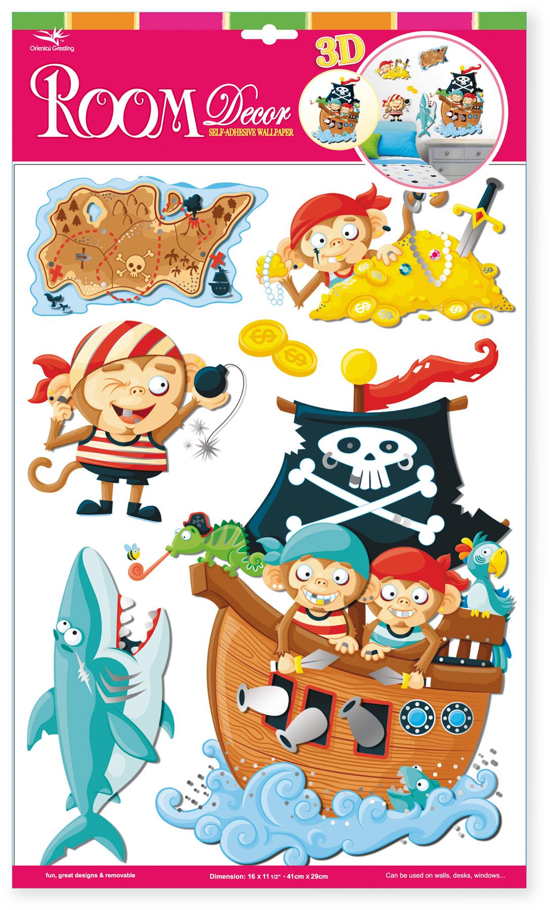 "Adesivi decorativi  «Scimmie pirati»"""