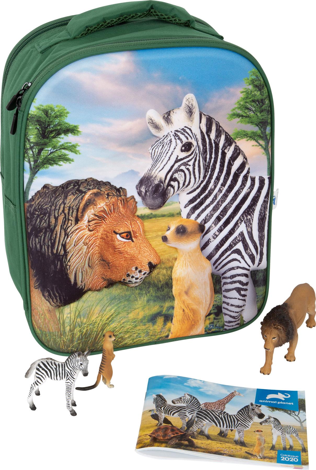 Animal Planet Zaino-Set da gioco 3D Animali della savana