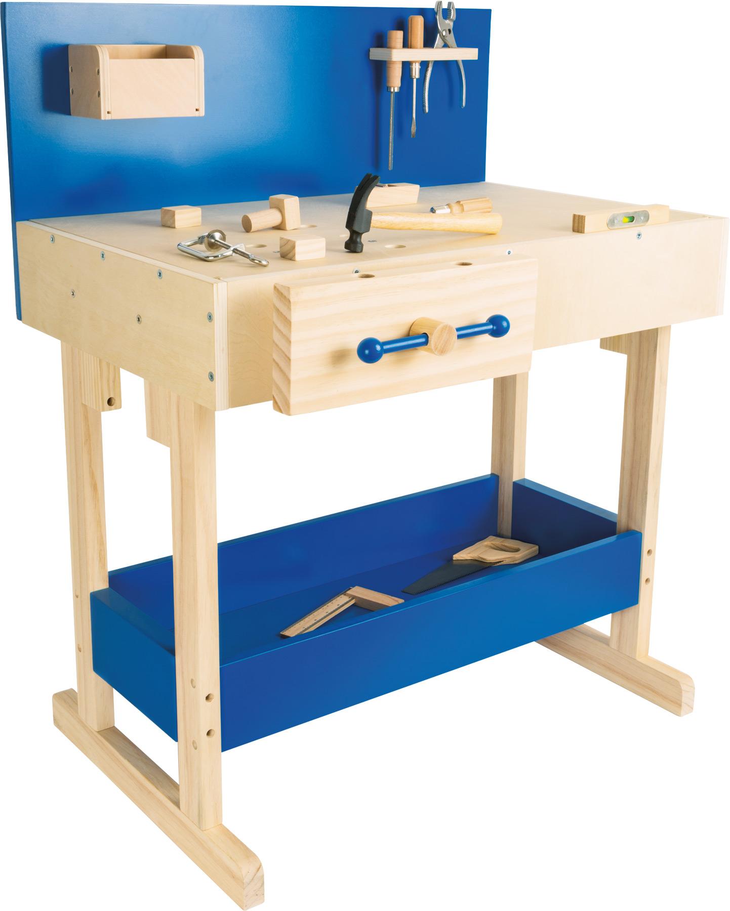 Banco di lavoro per bambini blu con accessori