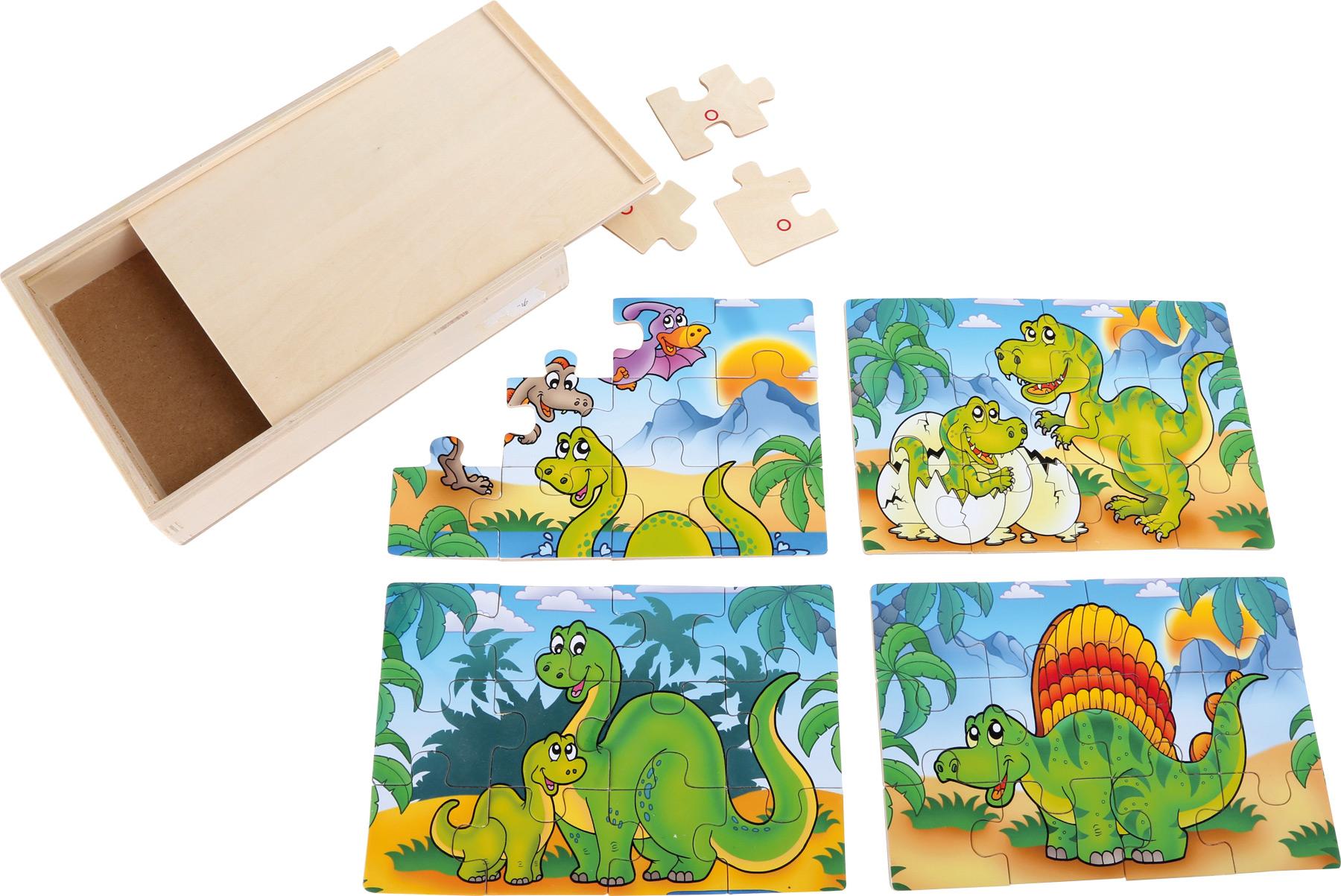 Box-Puzzle 4 in 1 Dinosauri